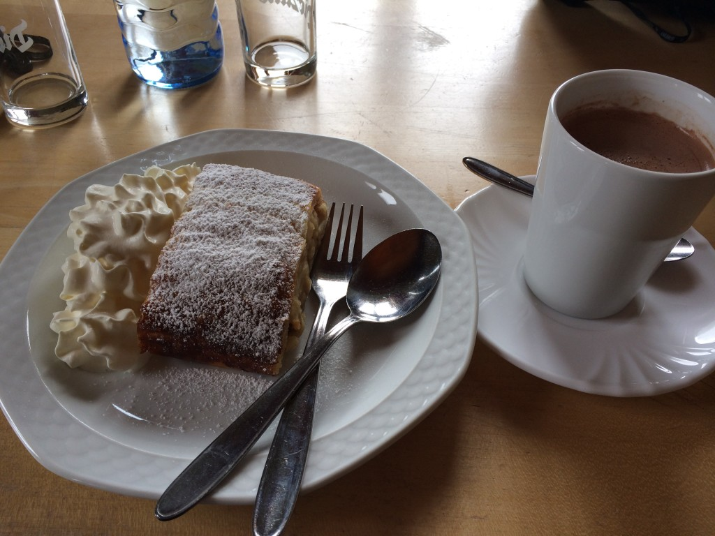 Yum... Apple Strudel and Hot Chocolate