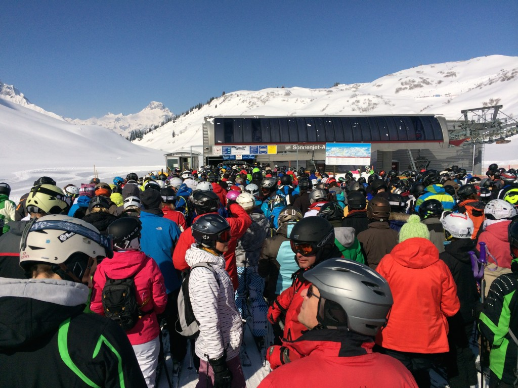 Massive lift queues and crowded slopes