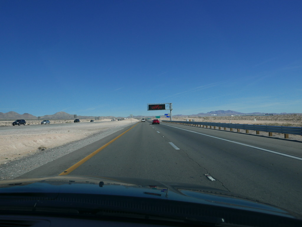 The open road - heading north out of Las Vegas into the desert