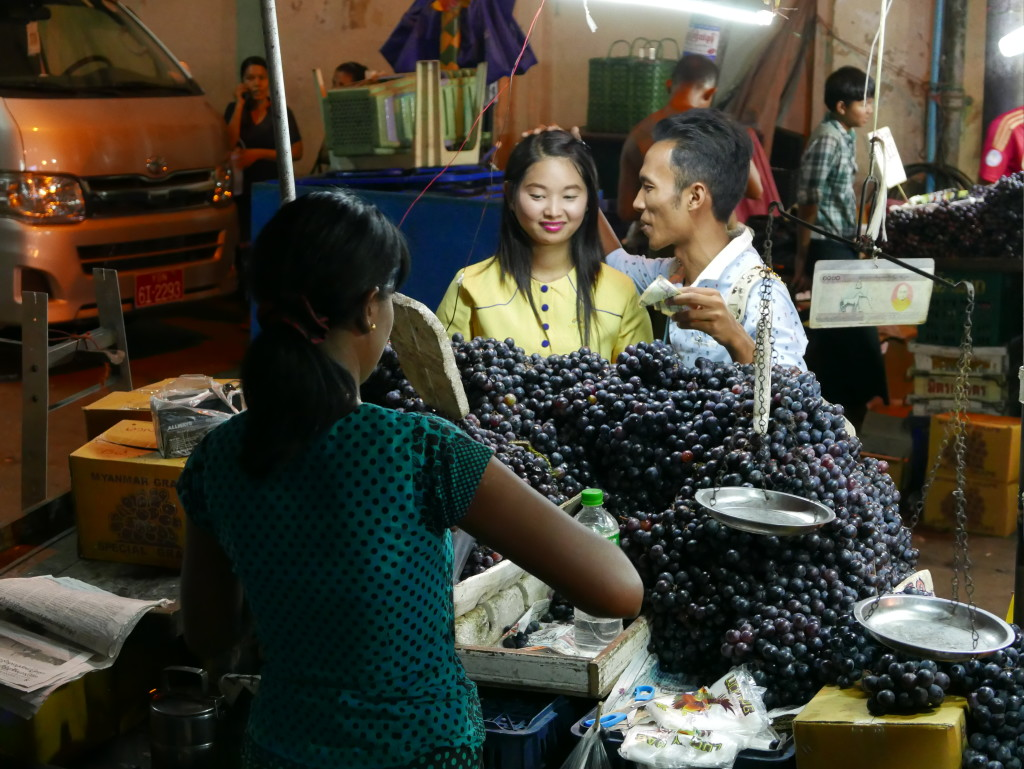 Shopping for grapes in Yangon