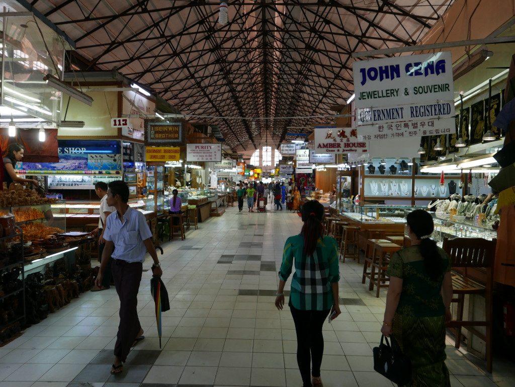 Main walk through Bogyoke Market (Scotts Market), Yangon (Rangoon), Myanmar (Burma)