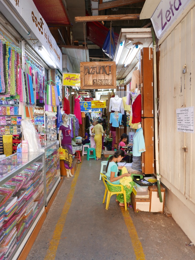 Typical 'alleyway' in the market Bogyoke Market (Scotts Market), Yangon (Rangoon), Myanmar (Burma)