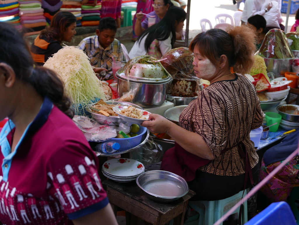 Food seller Bogyoke Market (Scotts Market), Yangon (Rangoon), Myanmar (Burma)