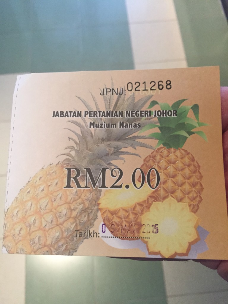 Entrance ticket for the Muzium Nanas Johor