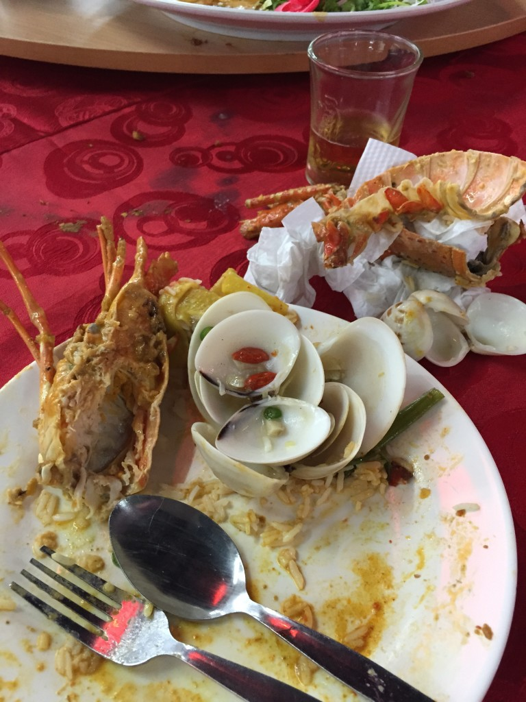 The remains of an excellent dinner at Kedai Makanan Hook Sang