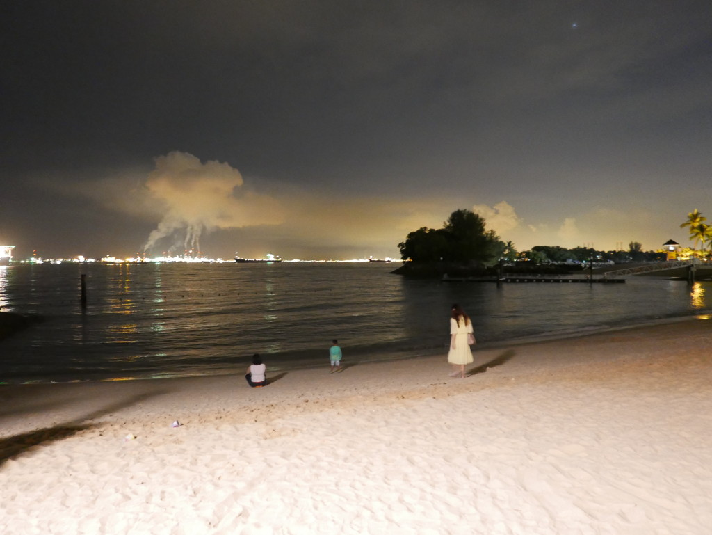 View from Siloso Beach, Singapore, at night