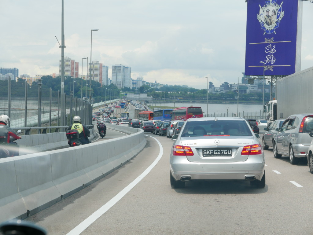 Traffic jams on the Johor Singapore Causeway
