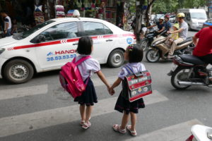Crossing the road in Hanoi – easier said than done!