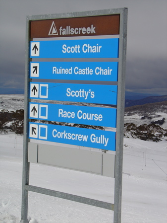 Slopes signs at Falls Creek Australia