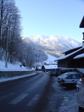 Snow covered and icy roads in Les Houches