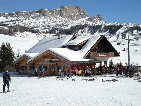 One of the many restaurants dotted around the mountains - skiing in Corvara (Alta Badia), Italy