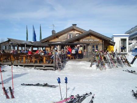 Mountain top restaurant - skiing in Corvara (Alta Badia), Italy