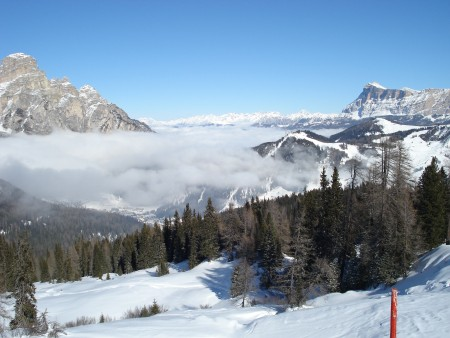 Clouds in the valley, Corvara, Italy - Last day skiing Corvara