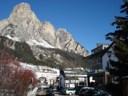 View down the street past our hotel - skiing corvara