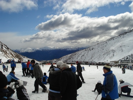 The Remarkables Ski Area - looking back from the main lodge towards Queenstown