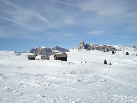 Mountain huts - there were numerous small huts scattered across the mountains - skiing in Corvara (Alta Badia), Italy