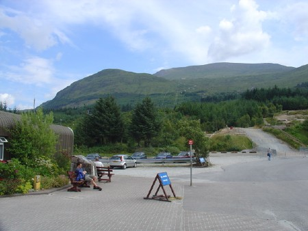 Nevis Range, Scotland - view of main lift from the carpark