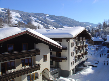 Saalbach Sunshine - the view from the hotel - clear skies and fresh snow!