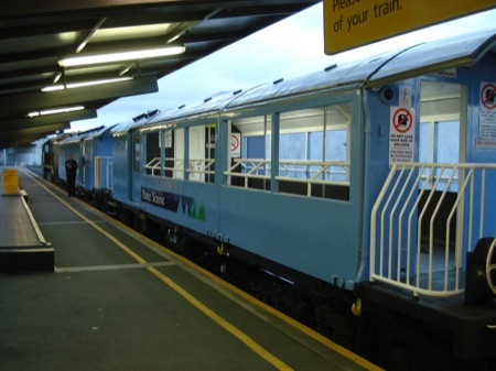 Train from Christchurch to Picton - tourists observation car. A bit chilly on a winters day