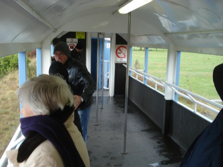 The open observation car on the Christchurch to Picton train