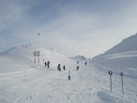 Skiing on the first day at St Anton