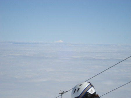 Skiing above the clouds - the only other land in sight was the another large volcano...
